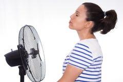 Девушка и вентилятор Стоковые Изображения RF