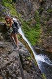 Девушка и водопад Стоковое фото RF