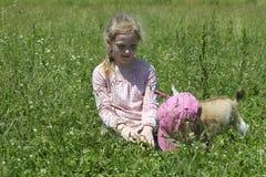 Девушка и ее коза младенца Стоковые Фото