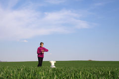 Девушка и ее собака Стоковое Фото