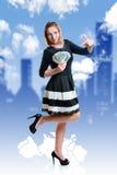 Девушка и деньги Стоковое Изображение