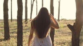 Девушка идет в лес в Солнце сток-видео