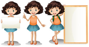 Девушка и знак иллюстрация вектора
