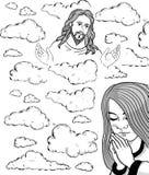 Девушка и Иисус молитве в небе Стоковые Фото