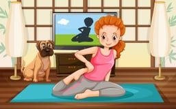 Девушка и йога иллюстрация штока