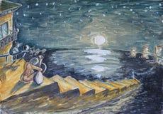 Девушка и кот сидя на шагах, смотря море, заход солнца Стоковые Изображения RF
