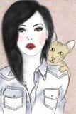 Девушка и кот Стоковое Изображение RF