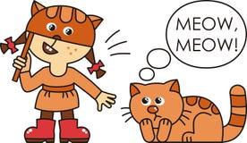 Девушка и кот иллюстрация вектора