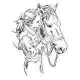 Девушка и лошадь, нарисованный вручную вектор иллюстрации Стоковые Изображения