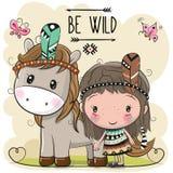 Девушка и лошадь шаржа племенные с пером иллюстрация вектора