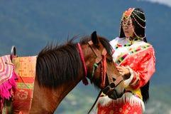 Девушка и лошадь Стоковое Изображение
