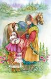 Девушка и мальчик в традиционных одеждах бесплатная иллюстрация