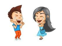Девушка и мальчик очень счастливы, смеющся над с удовольствием, стикеры с эмоциями иллюстрация штока