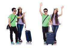 Девушка и мальчик с чемоданом изолированным на белизне стоковая фотография rf