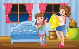 Девушка и мама в спальне бесплатная иллюстрация
