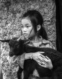 Девушка и малая коза Стоковое фото RF