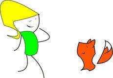 Девушка и маленькая лиса Стоковая Фотография RF