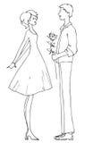 Девушка и мальчик даты Стоковое Изображение