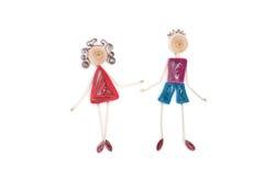 Девушка и мальчик делают в quilling искусстве Стоковая Фотография