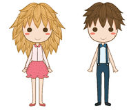 Девушка и мальчик Стоковое фото RF