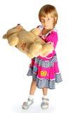 Девушка и медведь Стоковые Изображения RF