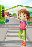 Девушка и молодой мальчик около АЗС Стоковое фото RF