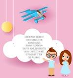 Девушка и молодой мальчик с стеклами Vector бумажное искусство облака и выстрогайте летание в небе Брошюра рекламы шаблона с косм Стоковое Изображение RF