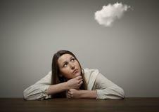 Девушка и облако Стоковое Изображение RF