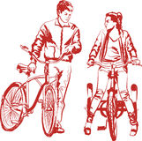 Девушка и парень - велосипедисты стоковые изображения rf