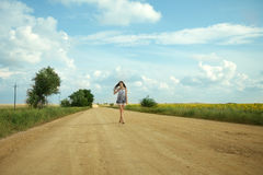 Девушка и путь Стоковая Фотография