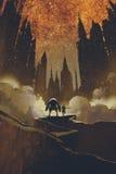Девушка и робот стоя на пути утеса смотря темные замки иллюстрация штока