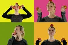 Девушка и свежие красные яблоки стоковая фотография rf
