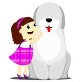 Девушка и собака Бесплатная Иллюстрация