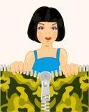 Девушка и фермуар на тканях бесплатная иллюстрация