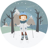 Девушка иллюстрации на лыжах в круге иллюстрация вектора
