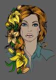 Девушка иллюстрации с лилиями, карточками Стоковая Фотография RF