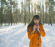 Девушка идя в лес в зиме Стоковое Изображение