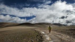 Девушка идя вдоль сиротливой дороги стоковая фотография