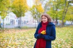 Девушка идя в парк падения Стоковые Изображения