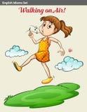 Девушка идя на воздух иллюстрация вектора