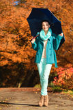Девушка идя с голубым зонтиком в осеннем парке Стоковые Изображения RF