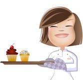 Девушка и Cupcakes2 Стоковое Изображение