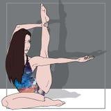 Девушка йоги с ногой вверх иллюстрация вектора