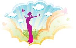 Девушка йоги иллюстрация штока