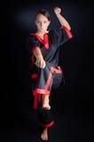 Девушка карате в кимоно Стоковое фото RF