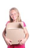 девушка картона коробки немногая Стоковые Изображения RF