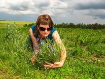 Девушка касаясь сини цветет в луге Стоковое Изображение RF