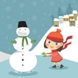 девушка катается на коньках снеговик Стоковое Изображение