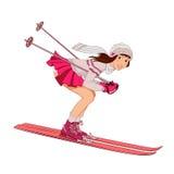 Девушка катания на лыжах pin-вверх на белой предпосылке Стоковое Фото