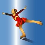 Девушка катаясь на коньках на льде Стоковые Изображения